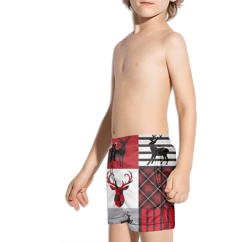 Etstk Red Black Buffalo Check Plaid Christmas Reindeer Moose Kids Durable Swim Trunks for Schoolboys