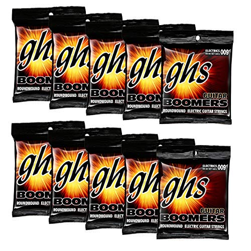 (GHS Strings GHS Boomers Roundwound Electic Guitar Strings Custom Light GBCL 10 Pack (9-46) (Renewed))