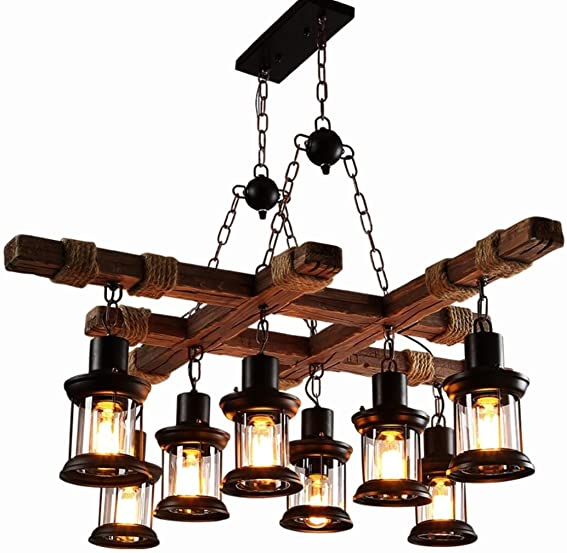 Flashing God Farmhouse Lighting Retro Iron Wooden Frame Chandelier 8 Wind Lamps Rustic Antique Ceiling Lamp Lighting Fixtures