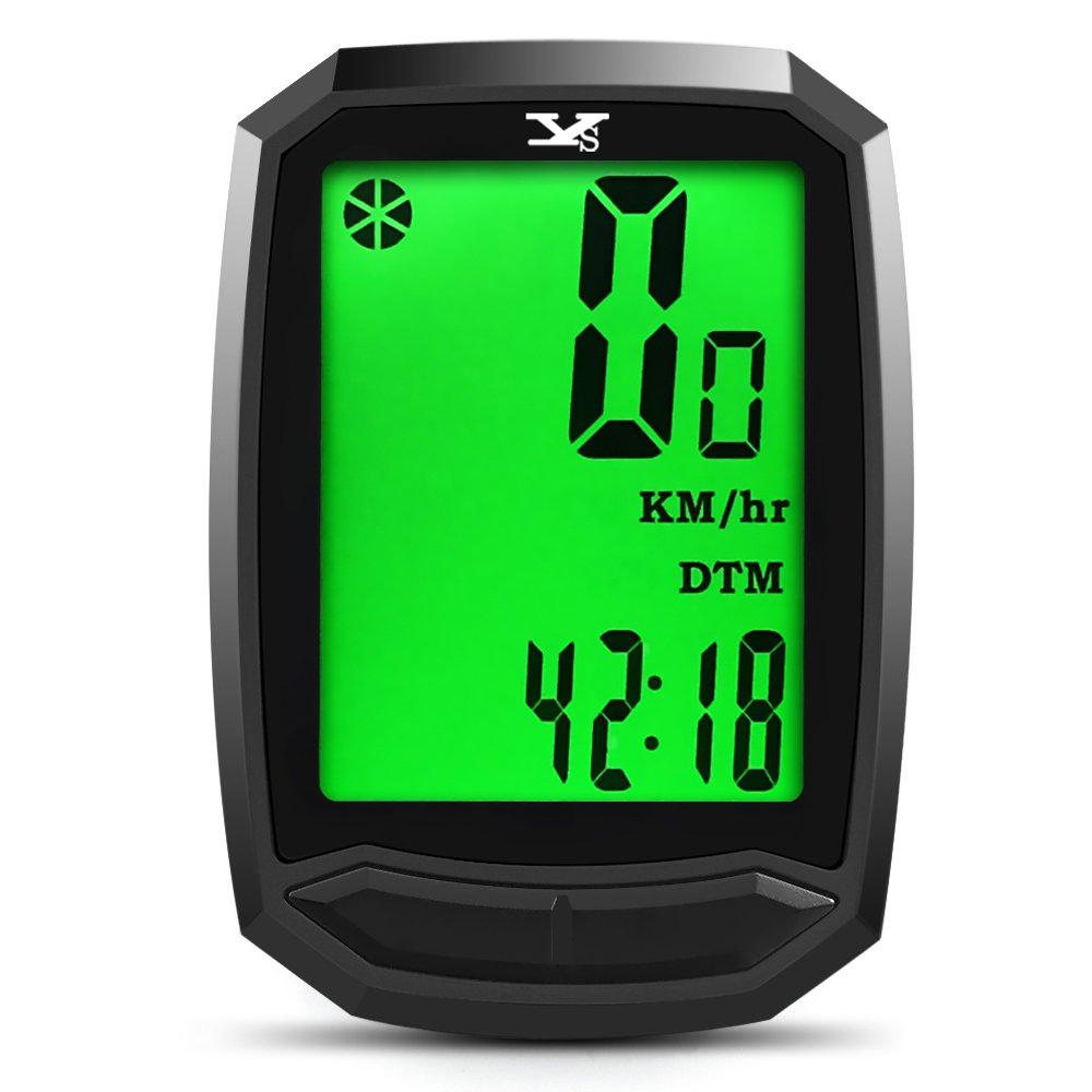 Cuentakilómetros para bicicleta YS inalámbrico impermeable con retroiluminación gran pantalla LCD de