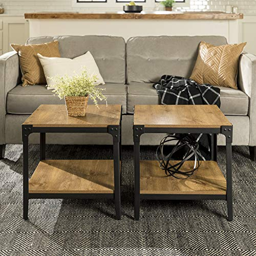 Walker Edison Furniture Company Metal and Wood Angle Iron Rustic End Tables in Barnwood - Set of 2