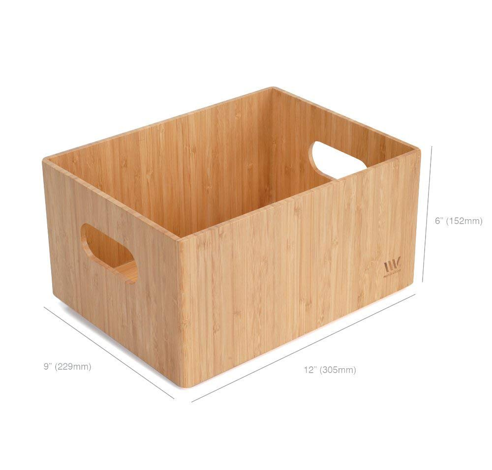 "MobileVision Bamboo Storage Box, 9""x12""x 6"", Durable Bin w/Handles, Stackable - For Toys Bedding Clothes Baby Essentials Arts & Crafts Closet & Office Shelf"