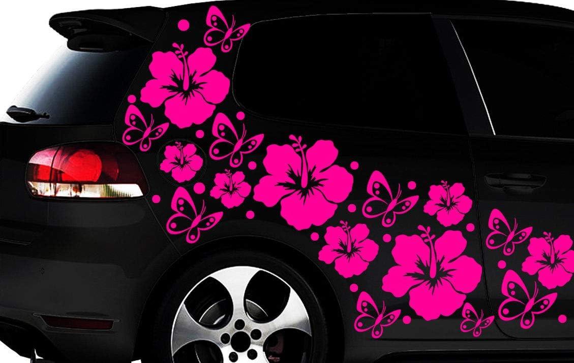 Hr Werbedesign 108 Teiliges Auto Aufkleber Hibiskus Blumen Schmetterlinge Hawaii Wandtattoo L3p Auto