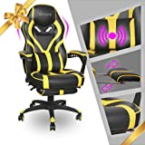 Gaming Chair Racing Footrest Massage Computer - Cushioned Comfort High Back PU Leather USB Vibrator Ergonomic Recliner Home O