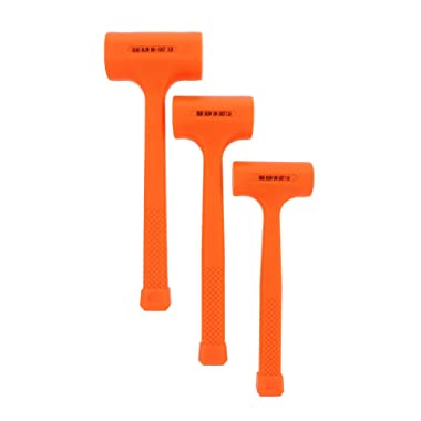 ABN Dead Blow Hammer 3-Piece Set – 1, 2, and 3 lb Pound – Unicast Mallets with Non-Marring Rubber Coating