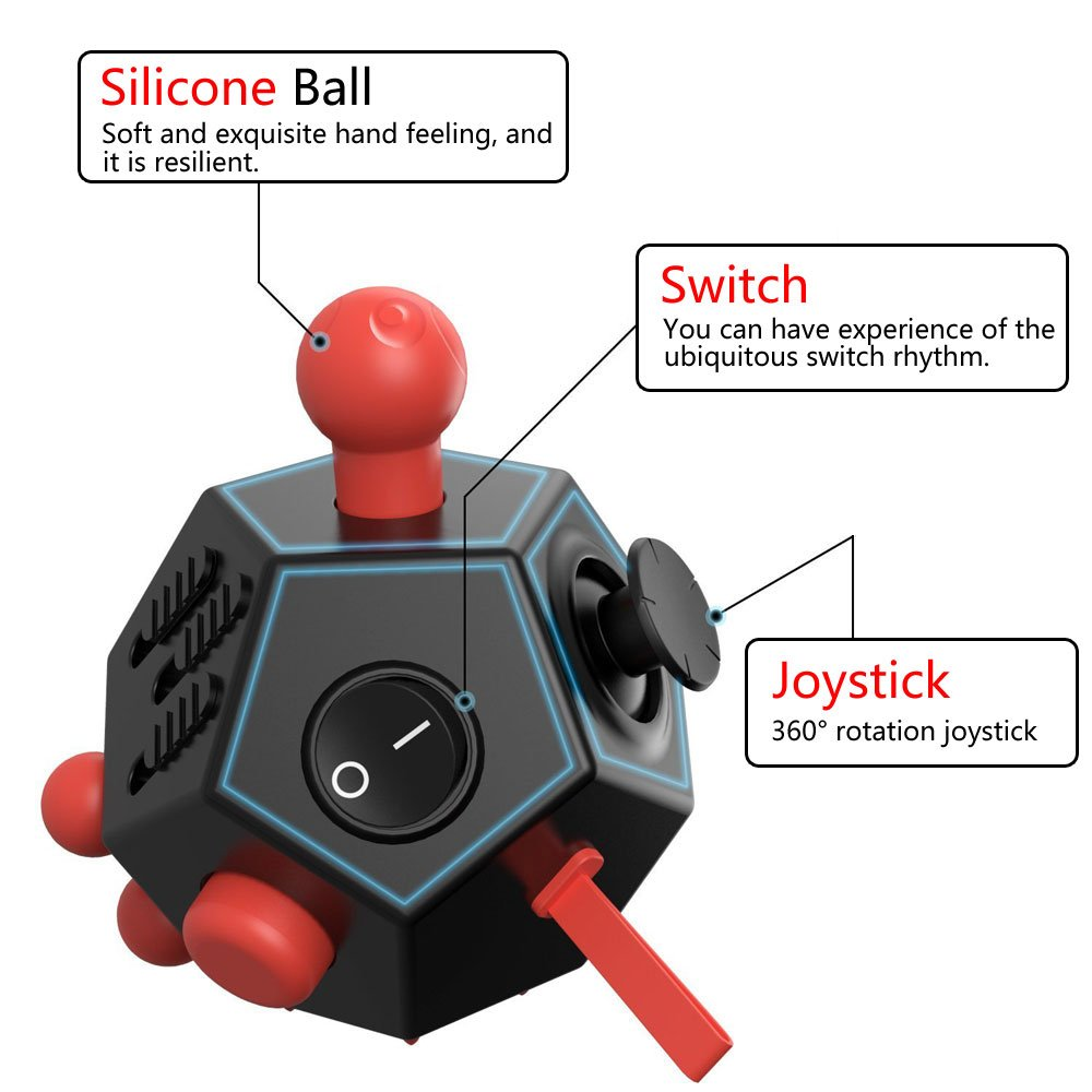 OCD Black//Red Autism ADHD UOOE 12 Sided Fidget Cube,Fidget Toy Cube Relief Stress and Anxiety Depression Anti for Kids and Adults with ADD