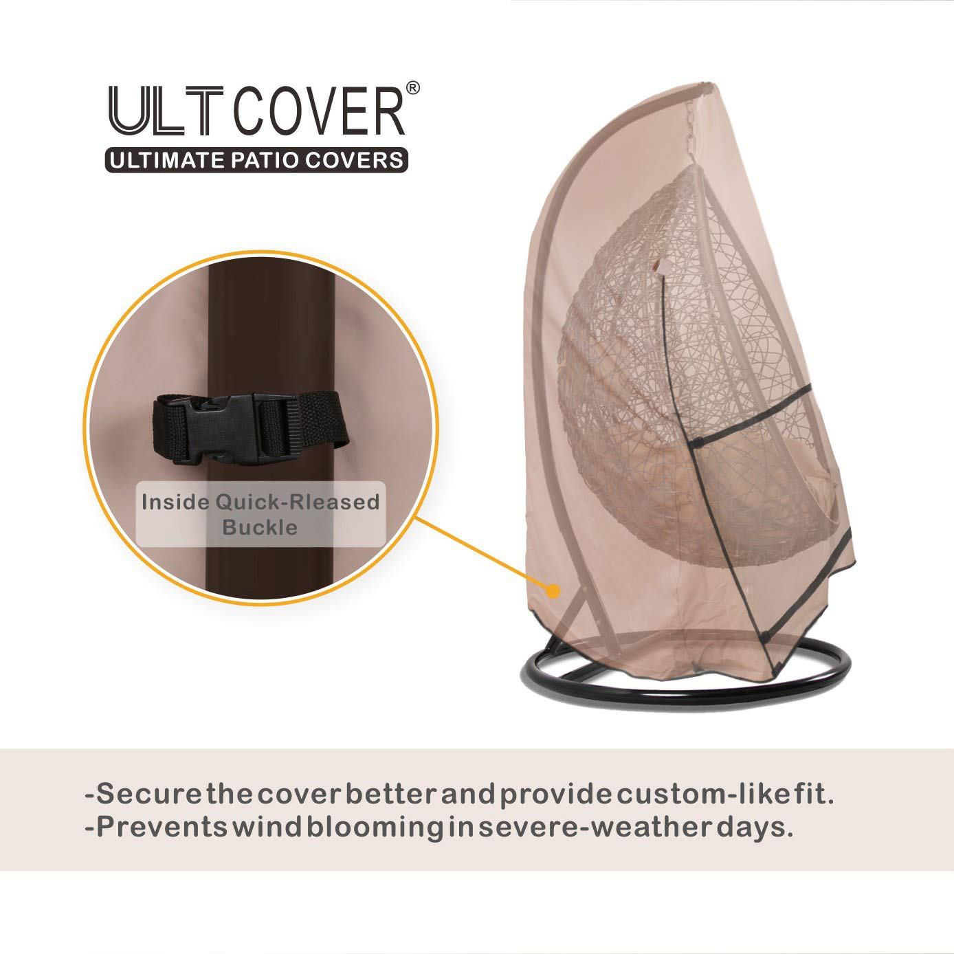 ULTCOVER Patio Hanging Egg Chair Cover - Waterproof Outdoor Single & 2 Person Swing Egg Chair with Stand Cover 56''(D) x 68''(H) by ULTCOVER (Image #5)