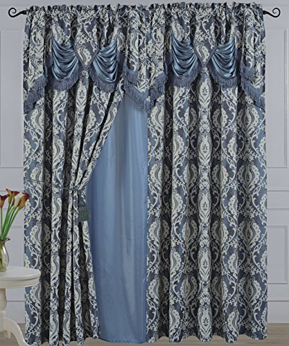 """American Linen & Rugs All American Collection New 2 Panel Jaquard-Like Polyester Curtain with Attached Valance and Sheer Backing (110"""" x 63"""") price tips cheap"""
