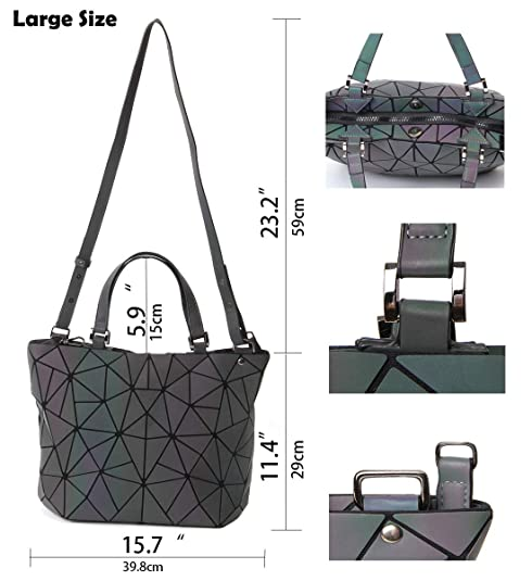 fc7f024d1ac Amazon.com  HotOne Geometric Luminous Purses and Handbags Shard Lattice  Holographic Purse Fit 14