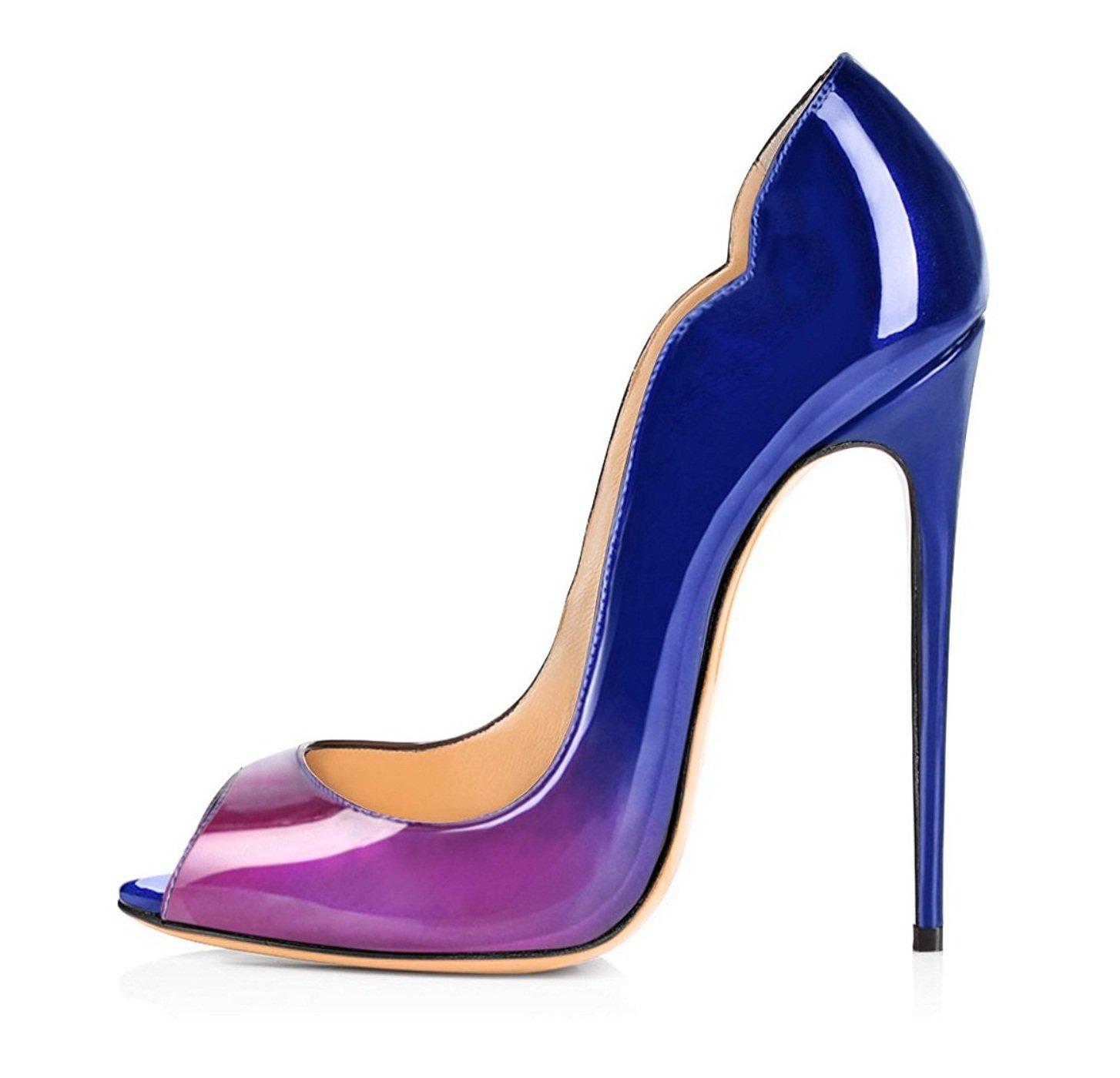 ELASHE - Zapatos de tacón - 12 CM Clásicas Tacones Altos - Boda Wedding Peep Toe Pumps 38 EU|púrpura y azul