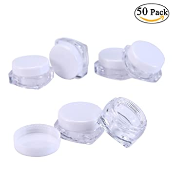 e991b4d9215e niceEshop(TM) 50 Pieces Travel Cosmetic Sample Containers 5 Gram Plastic  Pot Jars (White,Square)