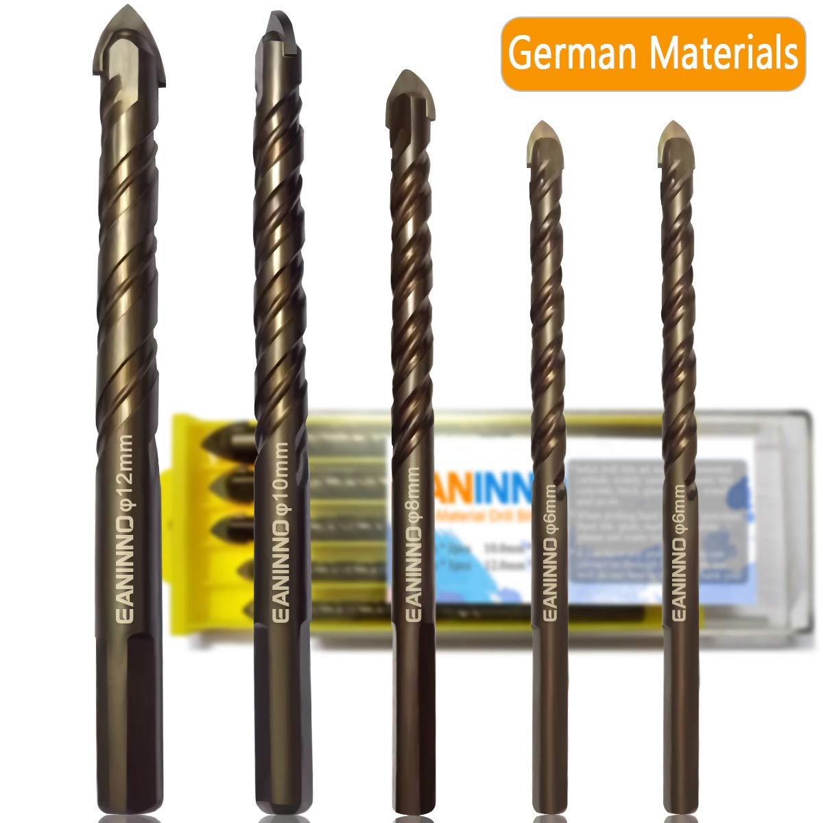 5 Piece Concrete Drill Bit Set, German Cemented Carbide Masonry Drill Bits for Concrete/Ceramic Tile/Brick/Wall/Plastic/Wood/Glass, Twist Tip Bit Tool by Eaninno (6 6 8 10 12mm)