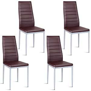 Giantex Set of 4 PU Leather Dining Side Chairs with Padded Seat Foot Cap Protection Stable Frame Heavy Duty Elegant Ergonomically High Back Design for Kitchen Dining Room Home Furniture, Coffee