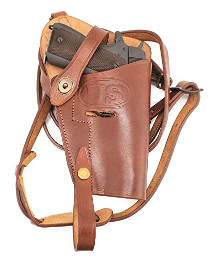 World War Supply M7 Premium Brown Drum Dyed Leather Tanker Shoulder Holster  Marked JT&L 1943