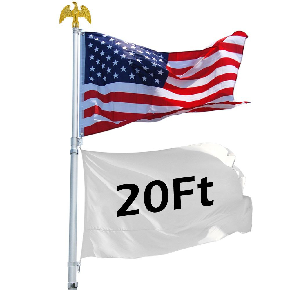 20 ft Aluminum Telescoping Flag Pole Flagpole Kit with Eagle Finial US American Flag by Access Store
