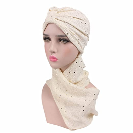 ded0ce6bac6 Image Unavailable. Image not available for. Color  Qhome Fashion Sequined Turban  Hijab Pre Tied Bandana Cap Chemo Head Scarf Hair Cover Sleeping Hat