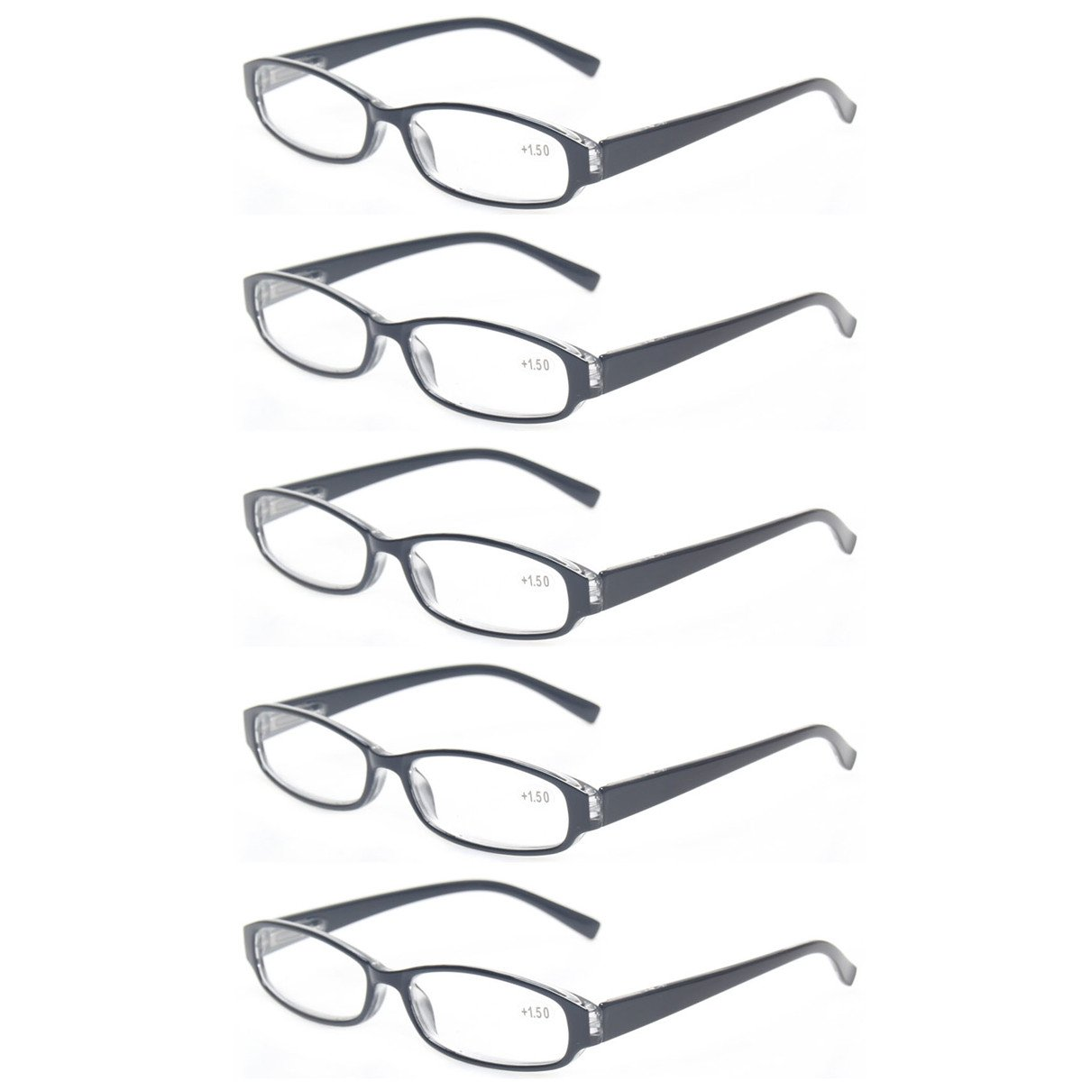 67dc9b2ea6e7 Galleon - Reading Glasses Comb Pack Of Multiple Fashion Men And Women  Spring Hinge Readers (5 Pack Black