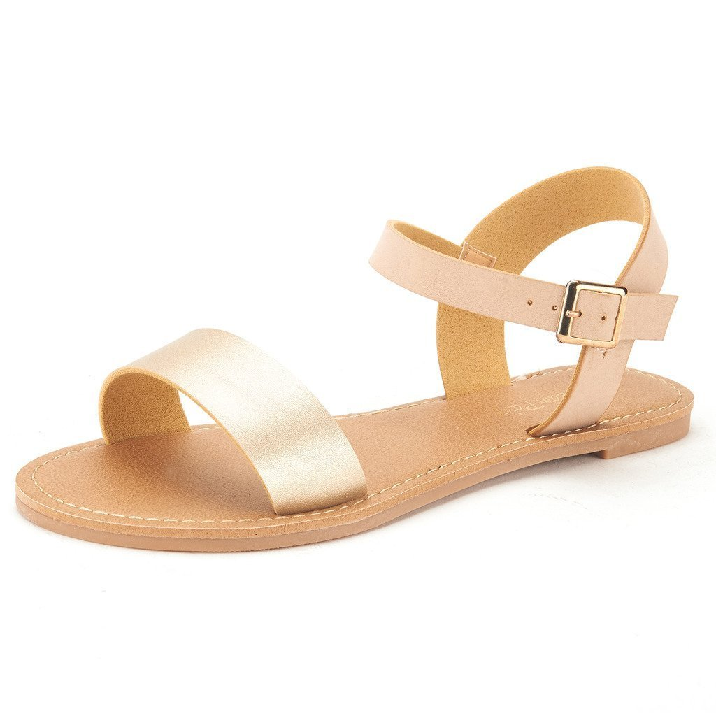 DREAM PAIRS HOBOO Women's Cute Open Toes One Band Ankle Strap Flexible Summer Flat Sandals New Gold-Nude Size 7.5
