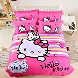 CASA 100% Cotton Brushed Kids Bedding Girls Hello Kitty Duvet Cover Set & Fitted Sheet,4 Piece,Queen
