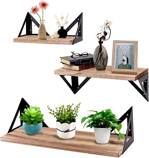 3 PCS Floating Shelves Wall Rustic Wood  for Bathroom Living Room Bedroom Office