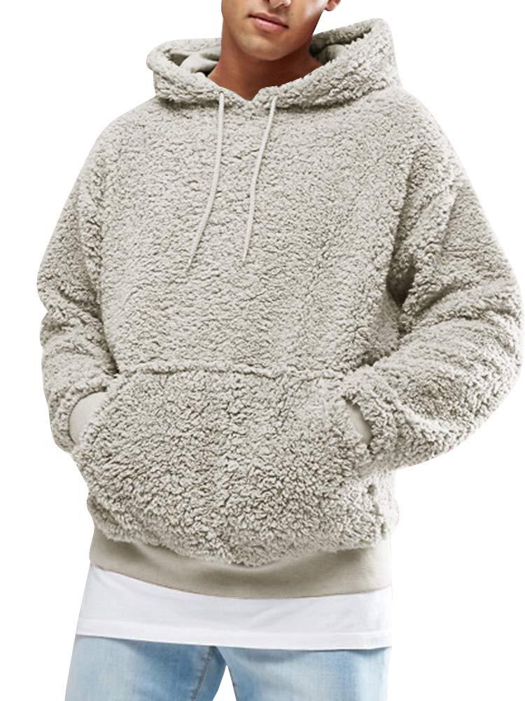 Mens Fluffy Hooded Jumper Teddy Fleece Hoodie Plush Sweatshirt Lightweight Pullover with Pocket Warm Winter Outwear