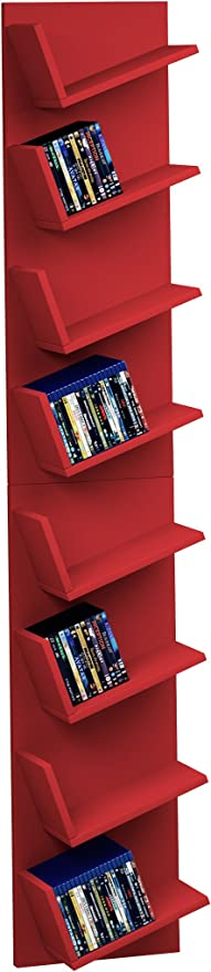 VCM Diseño Estante de Pared 452097 Estante CD DVD Armario Estantería Rojo Lansi máxima de