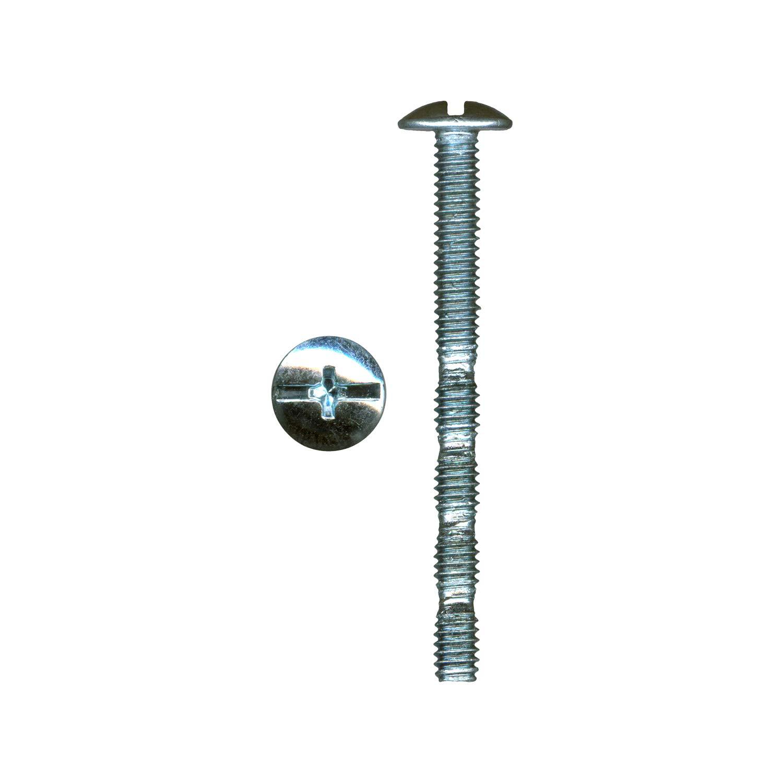 "100 Pack Rok Hardware #8 x 1-3/4"" Slotted Machine Thread Phillips Break Away Long Truss Head Screws"