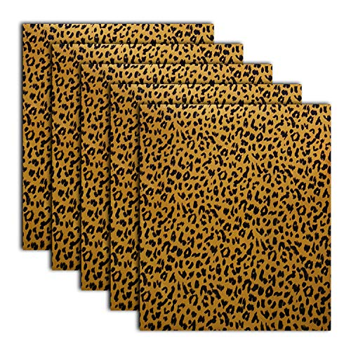 Leopard Patterned Heat Transfer Vinyl Iron On Animal Prints Foil HTV Bundle for T Shirts, 12x10 Inch, Pack of 5 Sheets