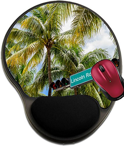 Liili Mousepad wrist protected Mouse Pads/Mat with wrist support design Lincoln Road Mall street sign located in Miami Beach - Beach Long In Malls