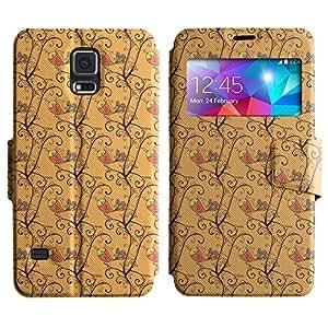 AADes Scratchproof PU Leather Flip Stand Case Samsung Galaxy S5 V SM-G900 ( Singing Bird )