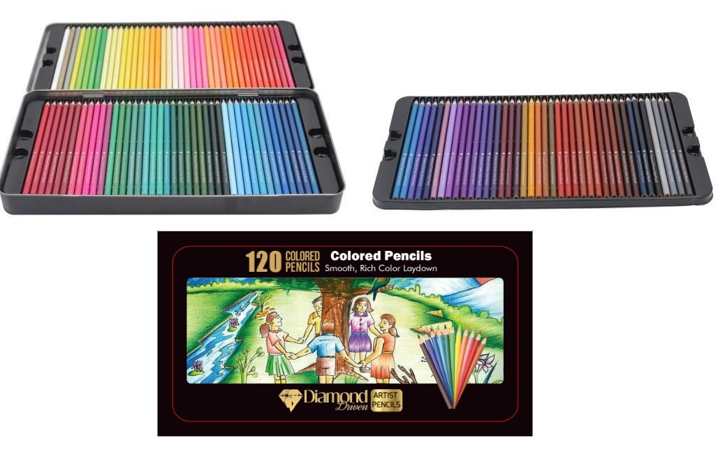 Diamond Driven #1 Artists Colored Pencils 120 Premium Soft Core Pre-Sharpened Colored Pencils Highly Pigmented Drawing Coloring Pages - Great Art School Supplies For Kids & Adults Professional Pencils