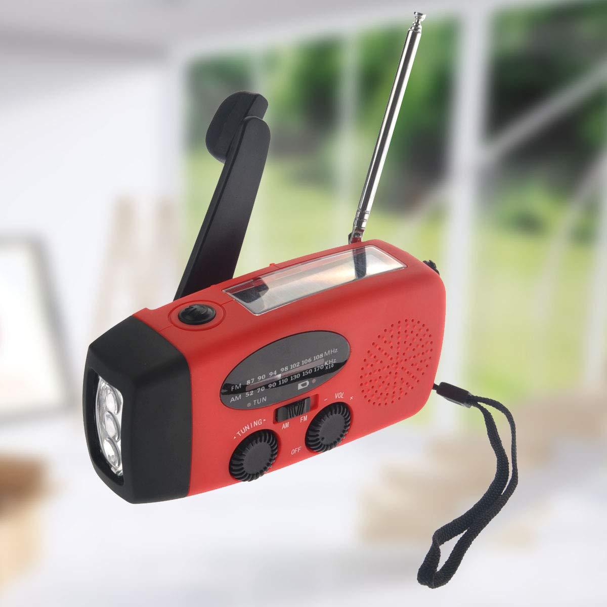 VOSAREA Emergency Solar Crank AM FM Camp Radio with LED Flashlight USB Output Port(Red) by VOSAREA (Image #8)