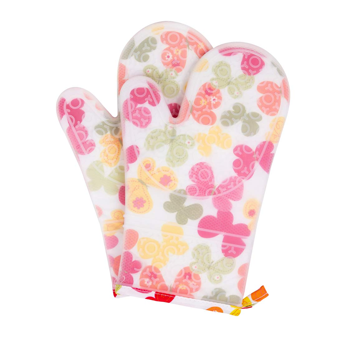 UJoowalk Transparent Clear Silicone Butterfly Printing Oven Mitts Cotton Lining Waterproof Washable Non-Slip Mitts Heat Resistant Gloves with Quilted Liner for Cooking (Farm Flower, Oven Mitts)