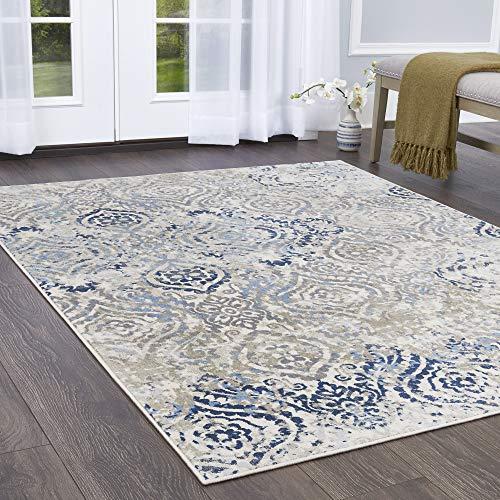 Home Dynamix 7060-682 Melrose Audrey Area Rug, 8x10, Ivory/Blue ()