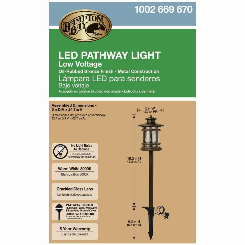 Amazon.com : Hampton Bay 3-Watt Oil Rubbed Bronze Outdoor Integrated LED Landscape Path Light with Crackled Shade, 3000k Bright White Light with 100Lumens ...