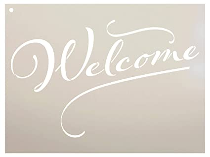 photograph about Welcome Sign Template identified as : Welcome Signal Stencil via StudioR12 Reusable