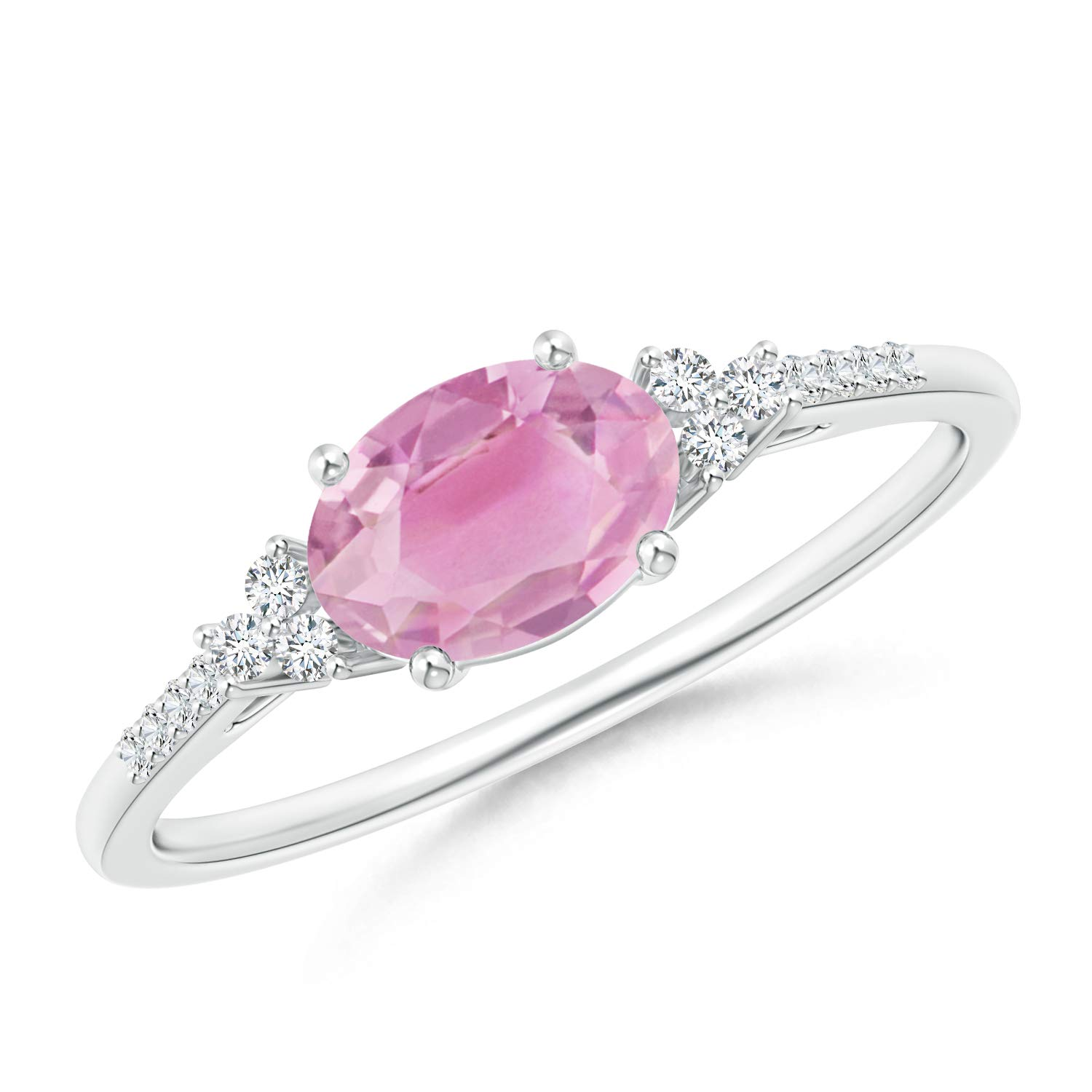 7x5mm Pink Tourmaline Horizontally Set Oval Pink Tourmaline Solitaire Ring with Trio Diamond Accents