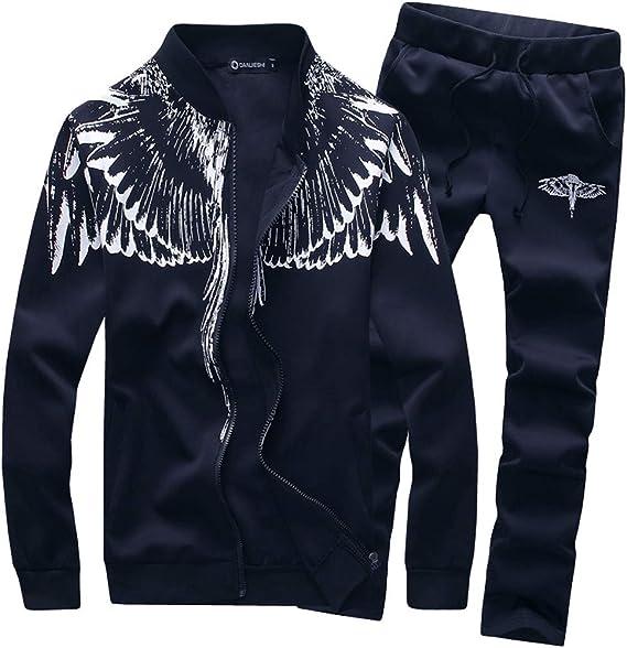 SuperSU Herren Print Sweatshirt Top Pants Sets Sport Freizeit Fleece Anzug Strickjacke Trainingsanzug Sweatjacke Hose Sportbekleidung Jogging Fitness