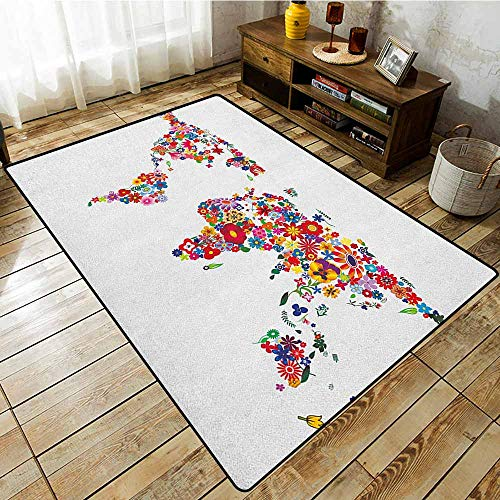 Large Area Rug,Floral World Map,Bunch of Flower Petals Essence Fragrance Garden Growth Theme Atlas Image,Rustic Home Decor,5'3