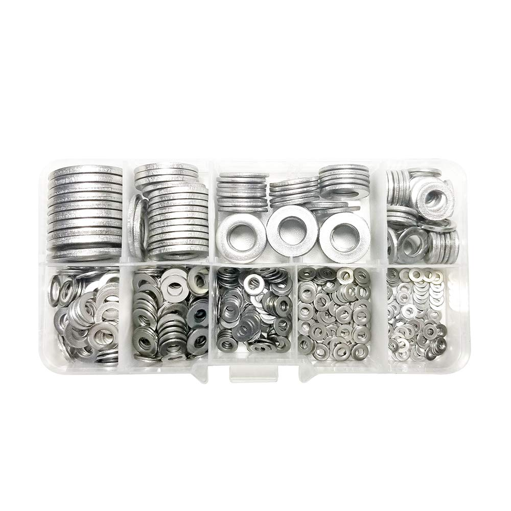M2 M2.5 M3 M4 M5 M6 M8 M10 M12(Silver) Screw Set M2 M2.5 M3 M4 M5 M6 M8 M10 M12 9 Sizes 580 Pieces Flat Washers Set 304 Stainless Steel