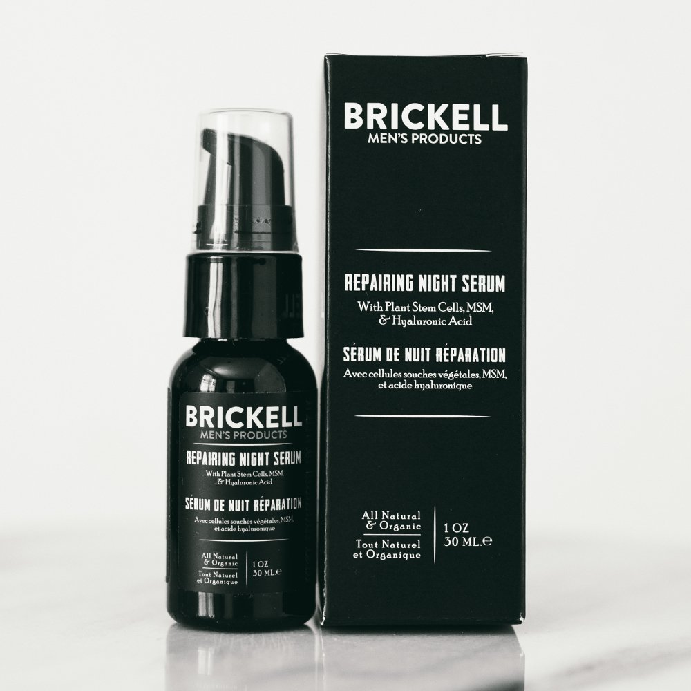Brickell Mens Products - Serum Antiedad Reparador de Noche para Hombres - Serum Facial Natural y Orgánico con Vitamina C (Sin fragancia) - 30 ml: ...