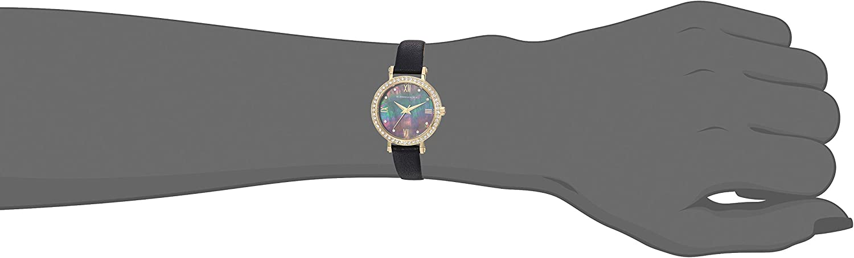 BCBGMAXAZRIA Women's Japanese-Quartz Stainless Steel Case Genuine Leather Pink/Black Strap Casual Watch (Model: BG50674001/02/04 Black