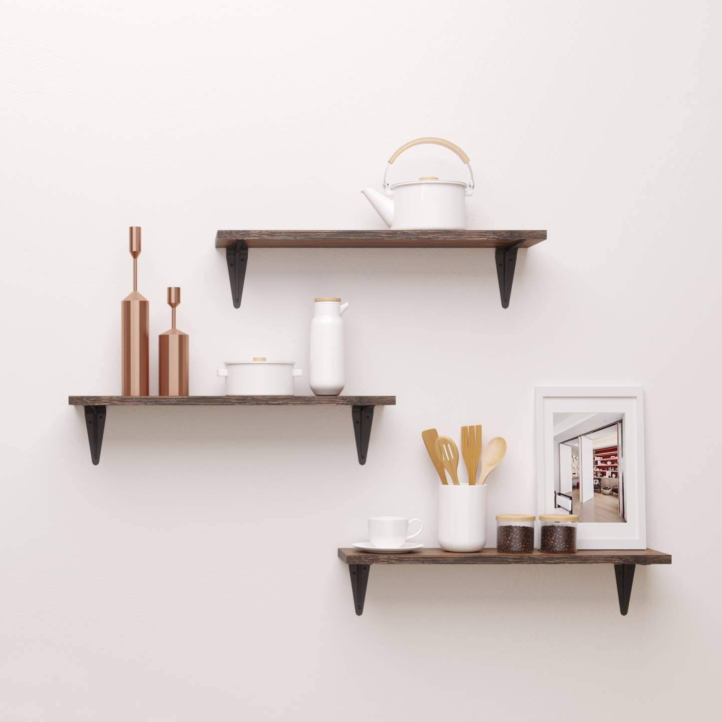 low priced ed721 8ec2e BAMFOX Floating Shelves,Wall Shelf Set of 3,Wall Mounted Floating Shelf  with Large Storage for Bedroom Bathroom Living Room Kitchen Office