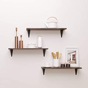 BAMFOX Floating Shelves,Wall Shelf Set of 3,Wall Mounted Floating Shelf with Large Storage for Bedroom Bathroom Living Room Kitchen Office