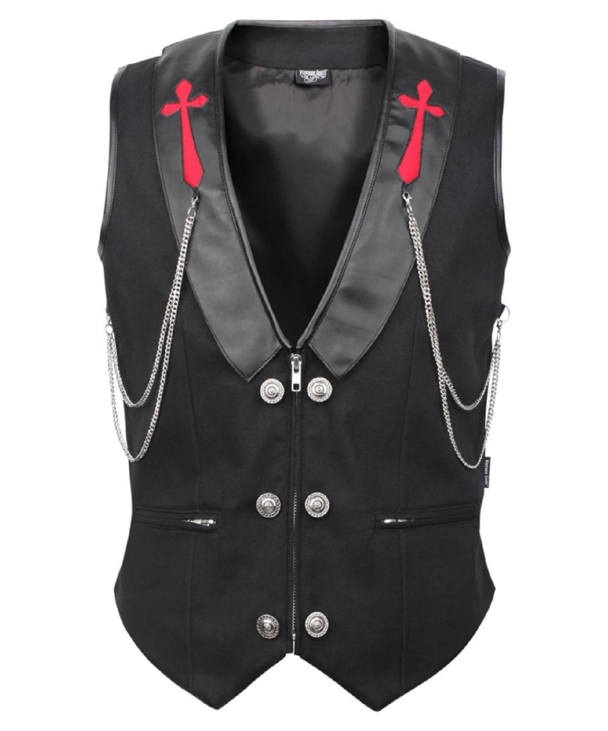 Men's Steampunk Cotton Gothic Waistcoat Vest with Hanging Chain (L)