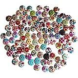 TRIXES 100 bottoni colorati assortiti floreali , tessuto a quadretti, a pois