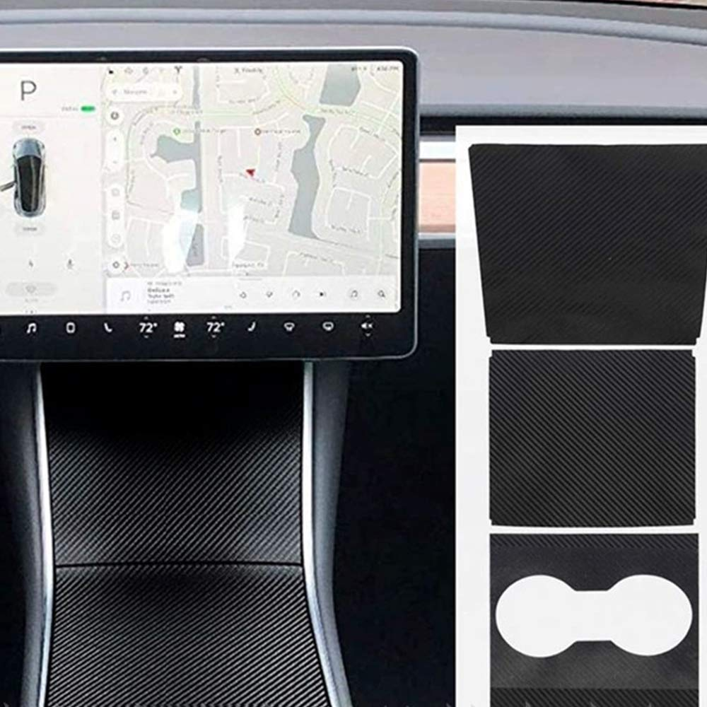 MIGHTYDUTY Center Console Wrap for Tesla Model 3,5D Carbon Fiber Scratch-Resistant Sticker Matrix Black