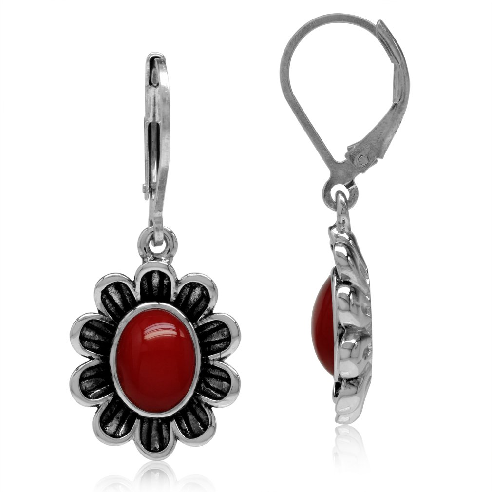 8x6MM Created Oval Shape Red Coral 925 Sterling Silver Flower Leverback Dangle Earrings