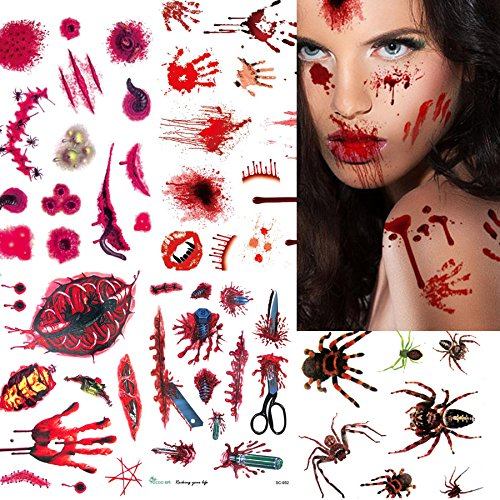 Halloween Tattoos 10 Sheets Realistic Zombie Wounds Scars Spiders 80pcs+ Temporary Stickers for Cos Play Party Supplies