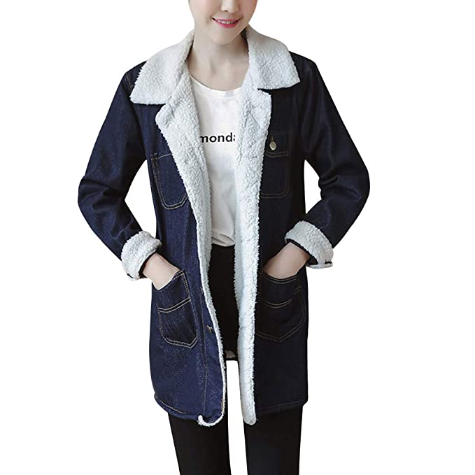 PXiong Winter Jeans Jackets Women,Warm Fur Denim Coats Long Retro Chaqueta